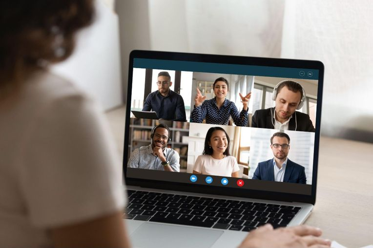 Employees joining a virtual event